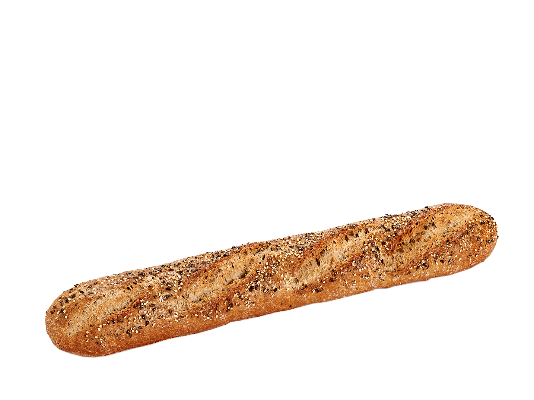 Stone oven part-baked multigrain baguette – Topping with seeds - Menissez